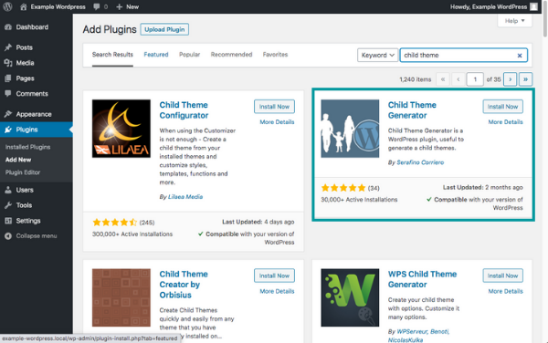 WordPress plugin page showing Child Theme Generator