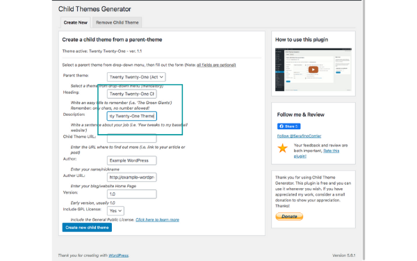 filling in information to create the WordPress child theme