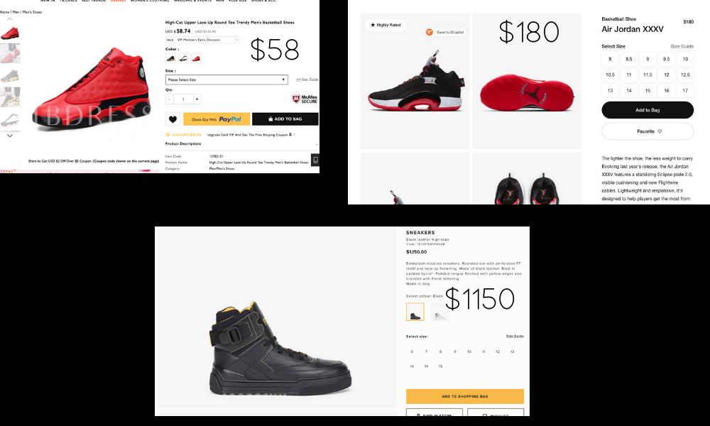 Image comparing TB Dress, Nike, and Fendi