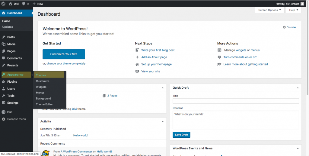 Wordpress dashboard showing the location of the themes page.
